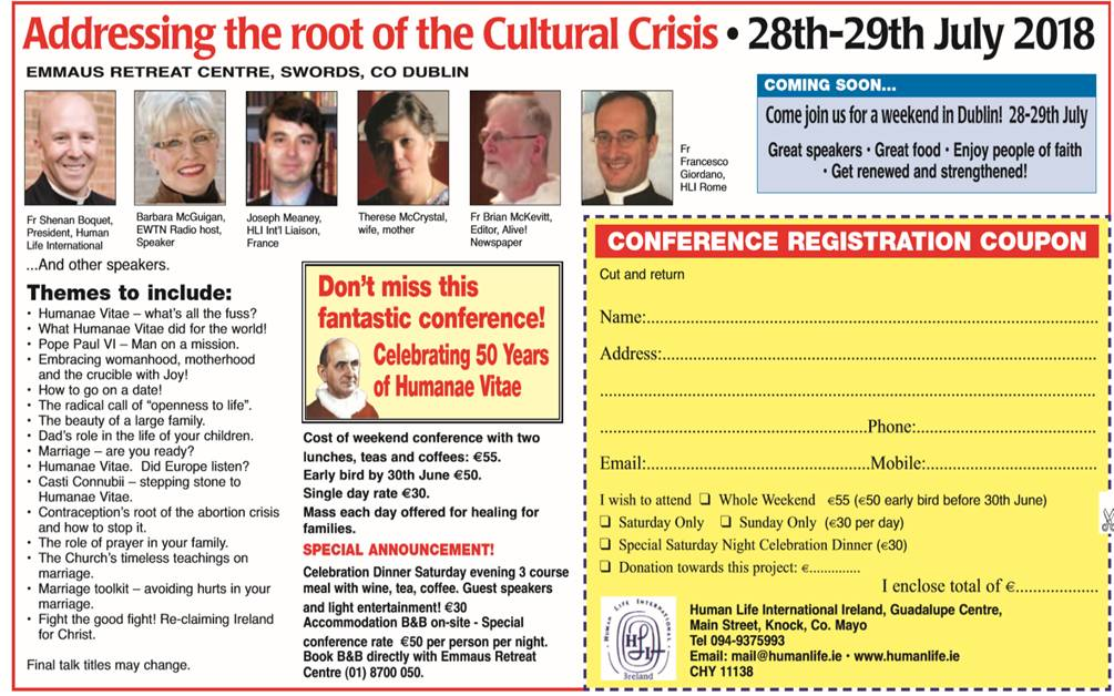 Humanae Vitae Conference 28-29 July, Dublin